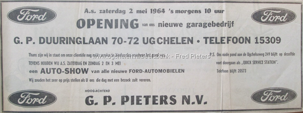 Advertentie opening garage Pieters